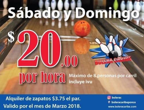 Oferta de Bowling Sábado y Domingo